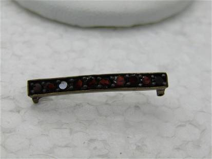 """Vintage Victorian Red Stone Bar Pin, C-Clasp, Brass, 1"""""""