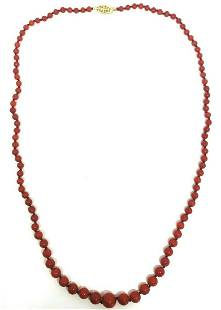 VICTORIAN Ox Blood Coral Bead Necklace 14K Yellow Gold