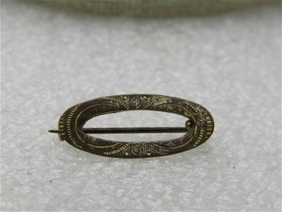 """Victorian 10kt G.F. Oval Engraved Brooch, 3/4"""" by 1/3"""""""