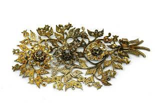 Early Georgian Silver Diamond Floral Oversize Brooch
