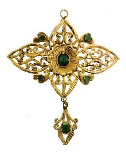 C.1900 VICTORIAN FRENCH JADE 18K YELLOW GOLD PIN BROOCH