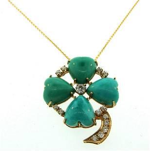 Victorian Turquoise & Diamond 14k Yellow Gold Four Leaf