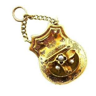 VICTORIAN 14k Yellow Gold & Pearl Mechanical Coin Purse