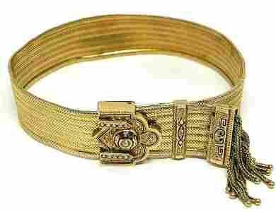 Victorian Yellow Gold Pearl Enamel Tassel Bracelet