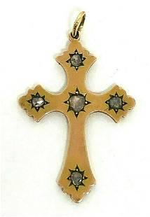 1900's Victorian Rose Cut Diamond 10K Yellow Gold Cross