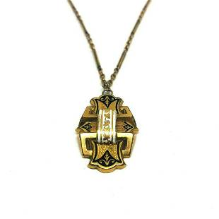 VICTORIAN Yellow Gold Filled Enamel Pendant Watch Chain