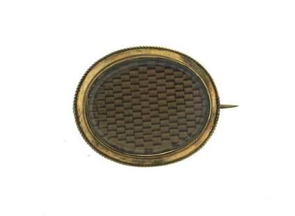 C.1900 VICTORIAN 14K YELLOW GOLD LOCKET BROOCH PIN