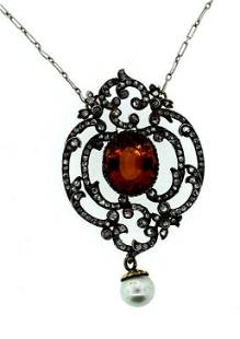 C.1870 RUSSIAN SILVER 14K YELLOW GOLD CITRINE PEARL