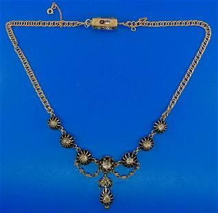 Victorian 18k Yellow Gold Enamel Rose Cut Diamond and