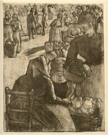 """Camille Pissarro """"Marche aux Legumes, a Pointoise"""""""