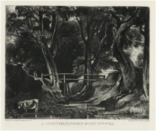 """Sir John Constable / David Lucas mezzotint """"A Dell,"""