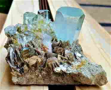Aquamarine Crystals on Matrix Collection Piece - 425