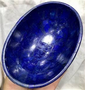 0.4 kg Hand Crafted Lapis Lazuli Bowl Ovel Shape