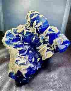 Phantom Cubic Fluorite Crystals With Calcite Spray -