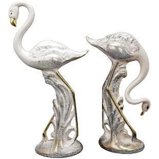 Pair Large Mid Century Stardust Gilt Flamingos Circa