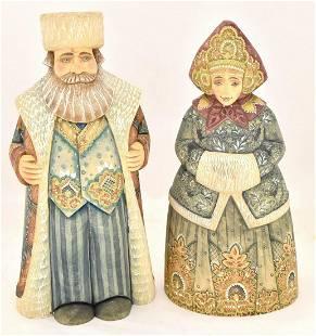 Wooden figures – wedded pair of boyars