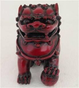 Fengshui figure handcarved statue Foo Dog resin vintage