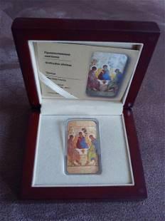 Orthodox silver 999 coin 2 dollars icon Holy Trinity