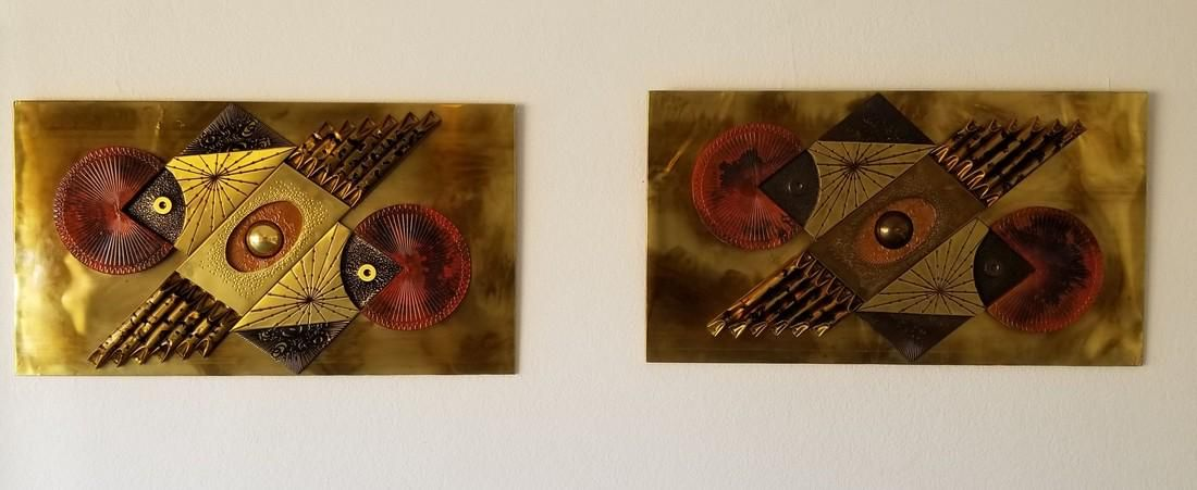 Pair of Large Brutalist Abstract Wall Sculpture By