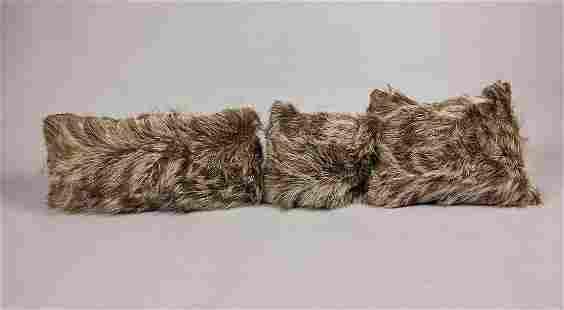 SET OF 3 FOX FUR PILLOWS