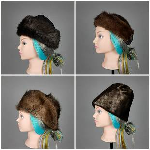 COLLECTION OF 4 FUR HATS