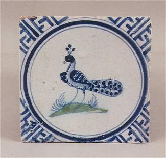 A fine rare early 17th century Dutch delft tile