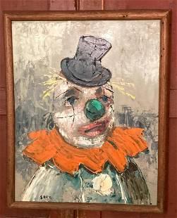 C1960 oil on Masonite clown painting