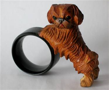 Vintage Folk Art Carving Of A Dog With A Hoop
