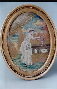 A fine needlework and painted silk picture