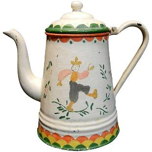 Antique Tole Painted Large Granite Ware Coffee Pot