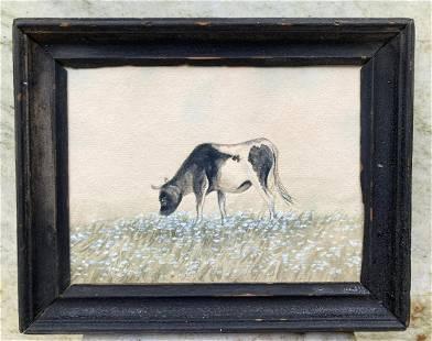 Circa 1900 original watercolor of a cow in field of