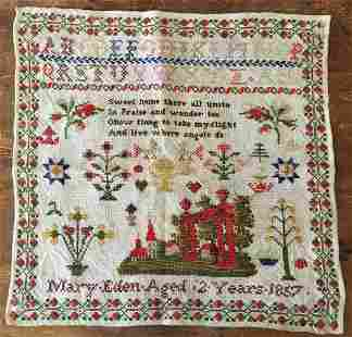 SAMPLER WORKED BY MARY EDEN DATED 1857