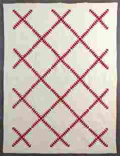 """Antique, Red & White, """"Wild Goose Chase"""" quilt,"""