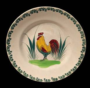 19th c. Spongeware Rooster Pearlware Colorful Plate