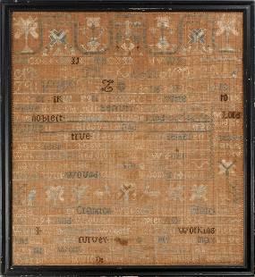 SAMPLER BY CELIA SHELDON CRANSTON, RI DATED 1806