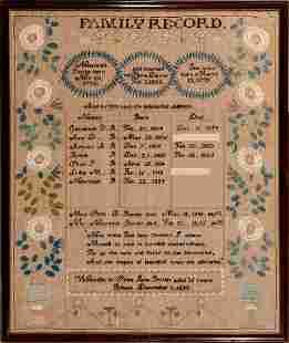 FAMILY RECORD SAMPLER FROM PELHAM, NH DATED 1820