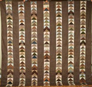 Large Flying Geese Quilt, Early Brown Fabrics
