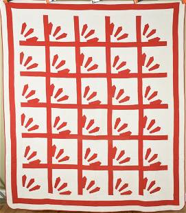 Well Quilted 1880's Red & White Fans Quilt