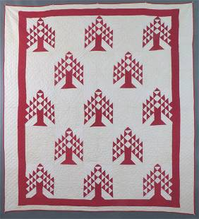 "Antique Red & White ""Pine Tree"" Quilt, Cotton,"