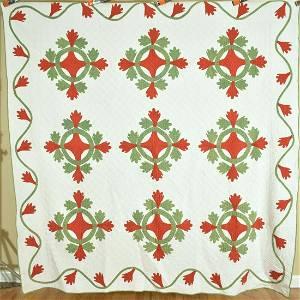 1880's Red & Green Applique Quilt, Best Quilting