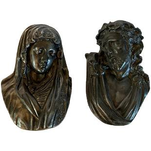 Antique Religious Jesus And Mary Icons