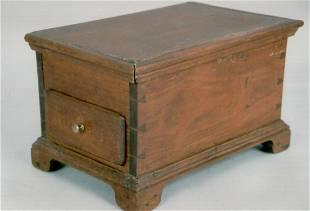 A fine late 18th century miniature walnut chest on