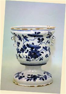 A fine scarce London delft campagne vase decorated with