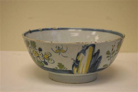 A scarce mid 18th century London delft bowl in the
