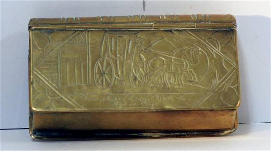 A scarce mid 18th century Dutch brass book shaped