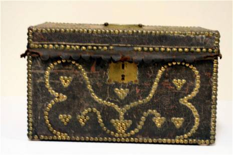 A late 18th century leather covered document box with