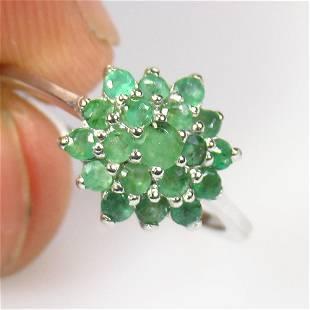 1.67 g 925 Sealed Silver Natural Emerald Ring