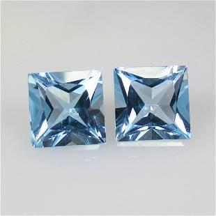 5.53 Ctw Natural Blue Topaz Princess Pair