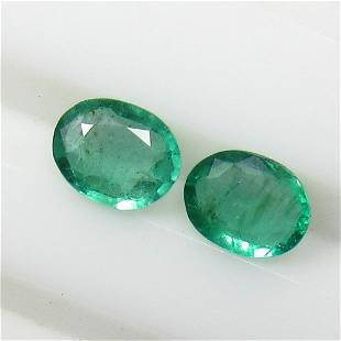 0.91 Ctw Natural Zambian Emerald Oval Pair