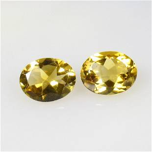 3.23 Ctw Natural Citrine Oval Pair